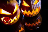 Close-up of two pumpkins for Halloween — Stock Photo