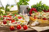 Fresh vegetables for baking pizza — Stock Photo