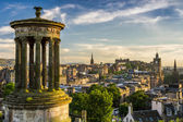 Beautiful view of the city of Edinburgh from Calton Hill — Stock Photo