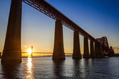 Sunset between the two bridges in Scotland in summer — Stock Photo