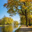 Stock Photo: Sunny day in autumn near park and river
