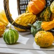 Colorful pumpkins on an old wicker basket — Stock Photo