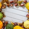 Stock Photo: Frame of autumn harvest placed on wooden floor