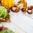 Stock Photo: Autumn harvest on wooden floor