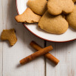 Closeup of gingerbread cookies on a plate — Stock Photo #14299993