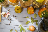 Vegetables and spices in the autumn basement — Stock Photo