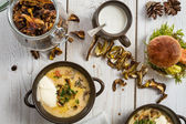 Close-up on the mushroom soup served in a special way — Stock Photo