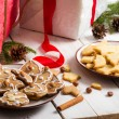 Stock Photo: Snacking homemade christmas cookies on plate