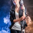 Young singer on the stage — Stock Photo