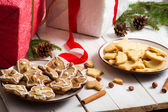 Snacking homemade christmas cookies on a plate — Stock Photo