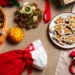 Close-up on Christmas goodies on the table — Stock Photo