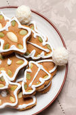 Close-up of gingerbread cookies on the plate — Stock Photo
