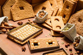 Ingredients for the gingerbread cottage for Christmas — Stock Photo
