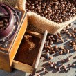Close-up of a full coffee grinder — Stock Photo