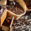 Closeup of a coffee grinder — Stok fotoğraf