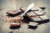 Closeup of Cocoa Powder and Dark Chocolate — Stock Photo