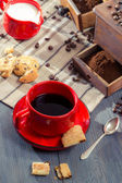 Coffee for breakfast with cookie — Stock Photo