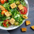 Stock Photo: Closeup of healthy Caesar salad with croutons