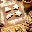 Christmas decorating gingerbread cookies — Stock Photo