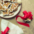 Close-up of gingerbread cookies on the plate — Stock Photo #17084639