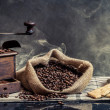 Scent of vintage brewing coffee on smoke background — Photo