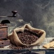 Scent of vintage brewing coffee on smoke background — Stock Photo