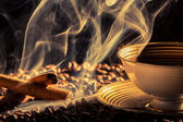 Cinnamon smell of brewed coffee — Stock Photo