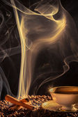 Strange smoke rising over the roasted coffee — Stock Photo