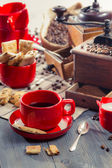 Brewed coffee served with cookie — Stock Photo