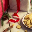 Cookies and gifts at Christmas time — Stock Photo