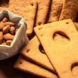 Close-up of the nuts and gingerbread cookie — Stock Photo