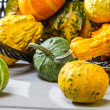 Stock Photo: Closeup pumpkins on wicker basket