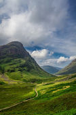 Beautiful footpath in the Scotland highlands in summer — Stock Photo