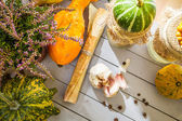 Autumn vegetables and mushrooms with the prescribe — Stock Photo