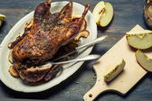 Close-up on homemade baked duck with dried fruit — Stock Photo