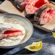 Fresh fish cooked in a homemade way — Stock Photo #18140345
