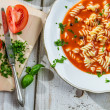 Stock Photo: Tomato soup with noodles