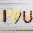 """I love you"" sentence arranged with cookies and nuts no. 5 — Stock Photo"