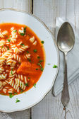 Close-up of tomato soup on a plate — Stock Photo