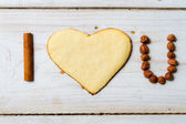 """I love you"" sentence arranged with cookies and nuts no. 2 — Stock Photo"