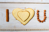"""I love you"" sentence arranged with cookies and nuts no. 3 — Stock Photo"