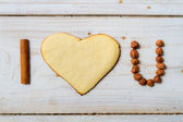 """I love you"" sentence arranged with cookies and nuts no. 8 — Stock Photo"