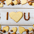 """I love you"" sentence arranged with cookies and nuts no. 9 — Stock Photo"