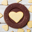 Heart-shaped cookies arranged on a plate no. 1 — Stock Photo