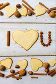 """I love you"" sentence arranged with cookies and nuts no. 10 — Stock Photo"