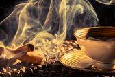 Skořice vůně pražené kávy — Stock fotografie