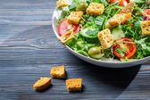 Close-up of a healthy chicken salad with croutons — Stock Photo