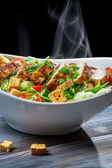 Roast chicken and fresh vegetables as a healthy meal — Stock Photo