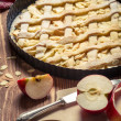 Freshly baked apple pie and fruit — Stock Photo