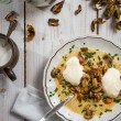 Stock Photo: Mushroom soup with cream and homemade ingredients
